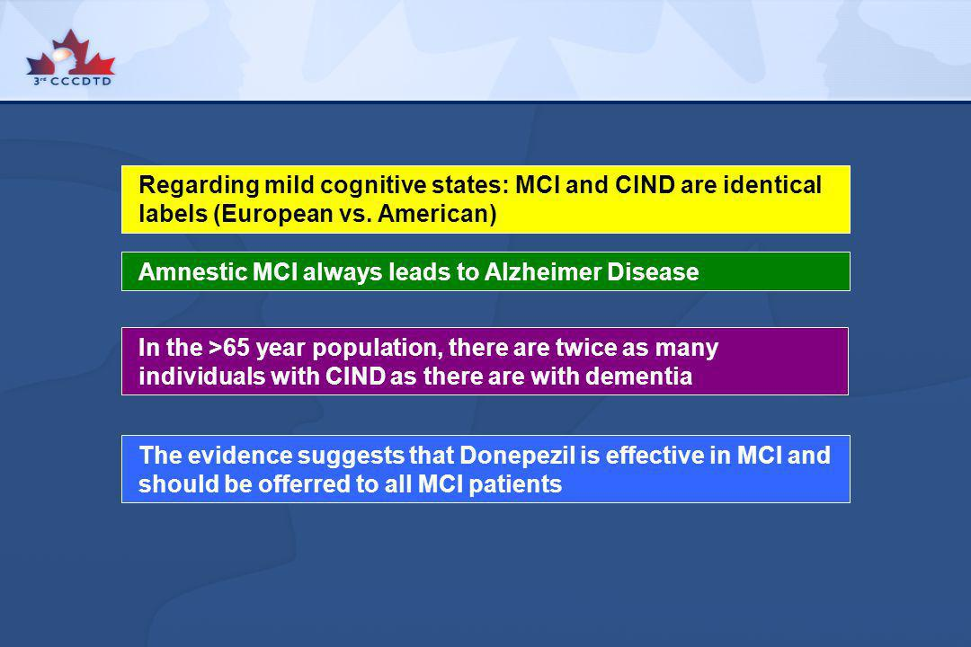 Regarding mild cognitive states: MCI and CIND are identical labels (European vs. American)