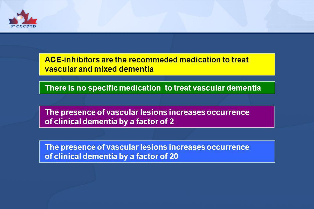 ACE-inhibitors are the recommeded medication to treat vascular and mixed dementia