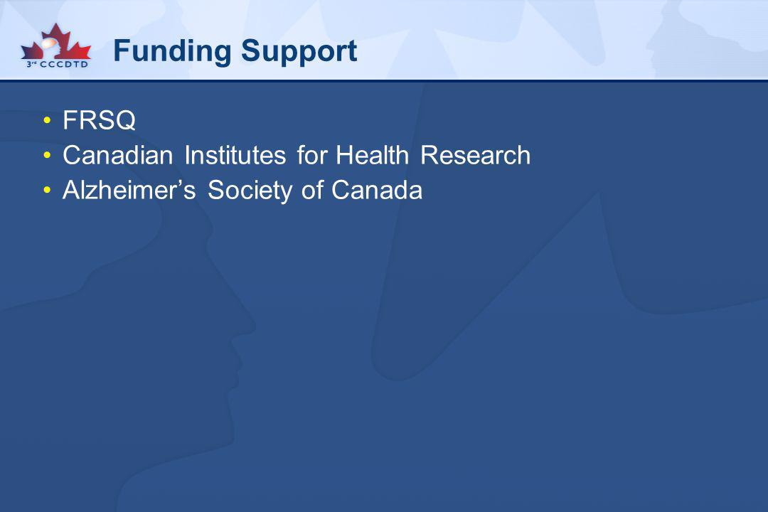 Funding Support FRSQ Canadian Institutes for Health Research