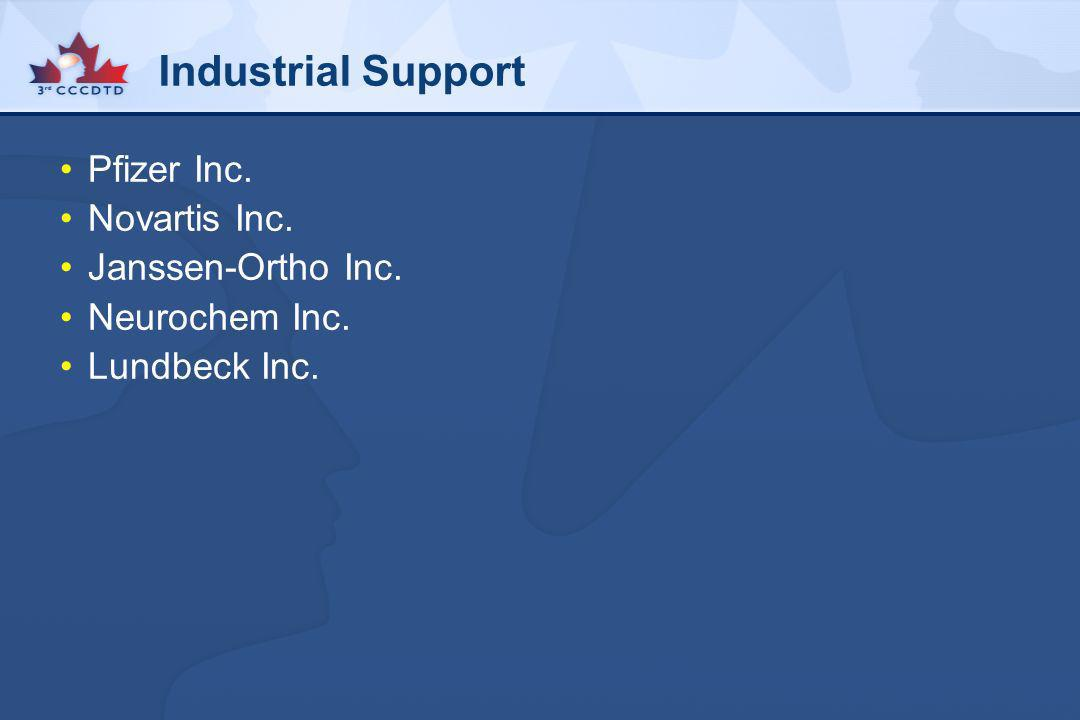 Industrial Support Pfizer Inc. Novartis Inc. Janssen-Ortho Inc.