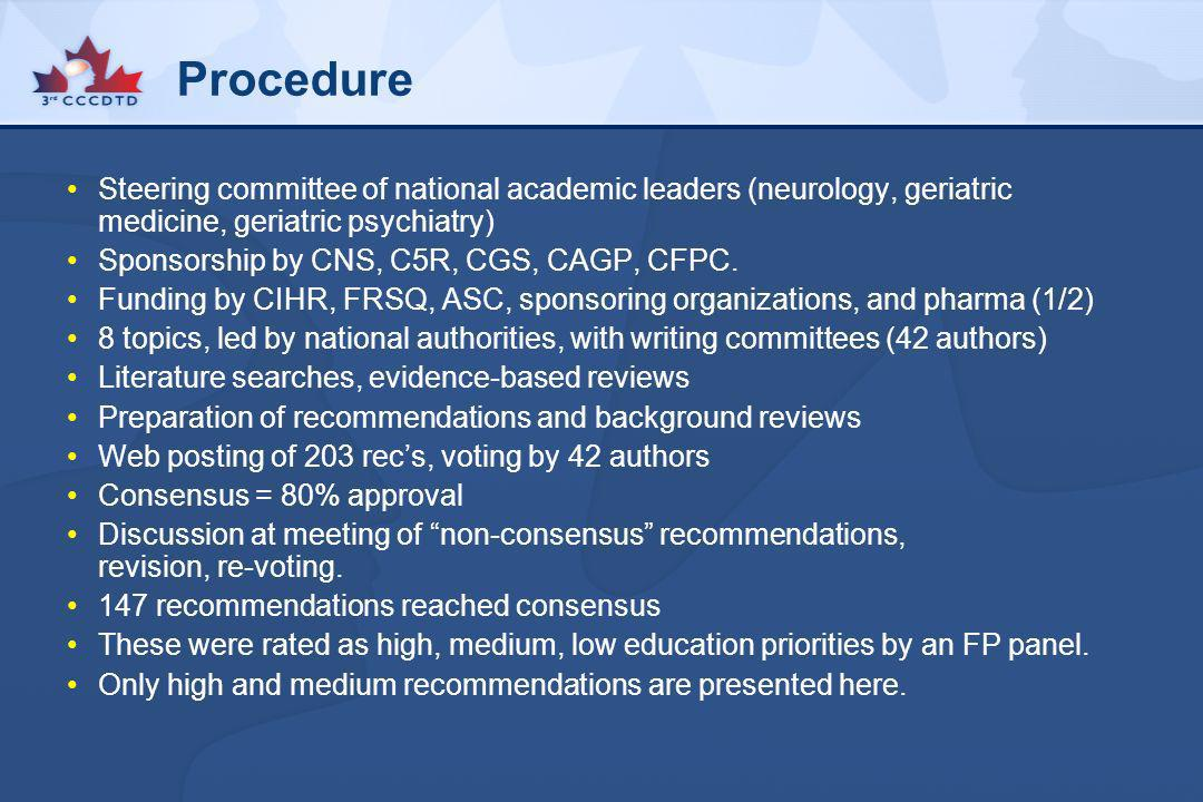 Procedure Steering committee of national academic leaders (neurology, geriatric medicine, geriatric psychiatry)