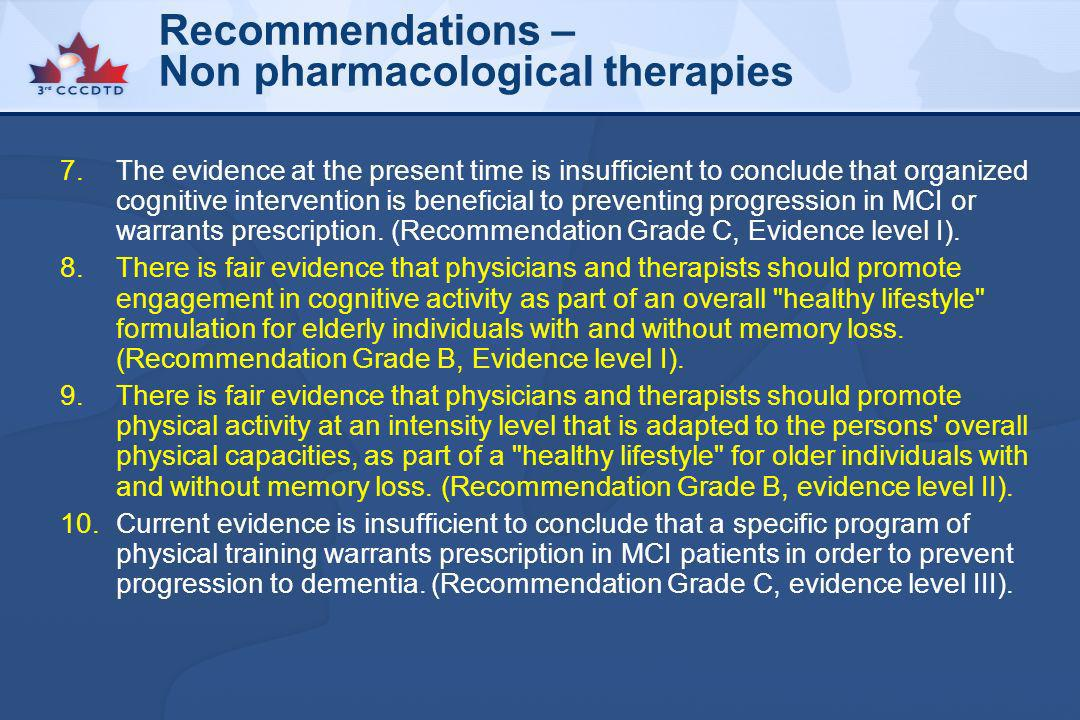 Recommendations – Non pharmacological therapies