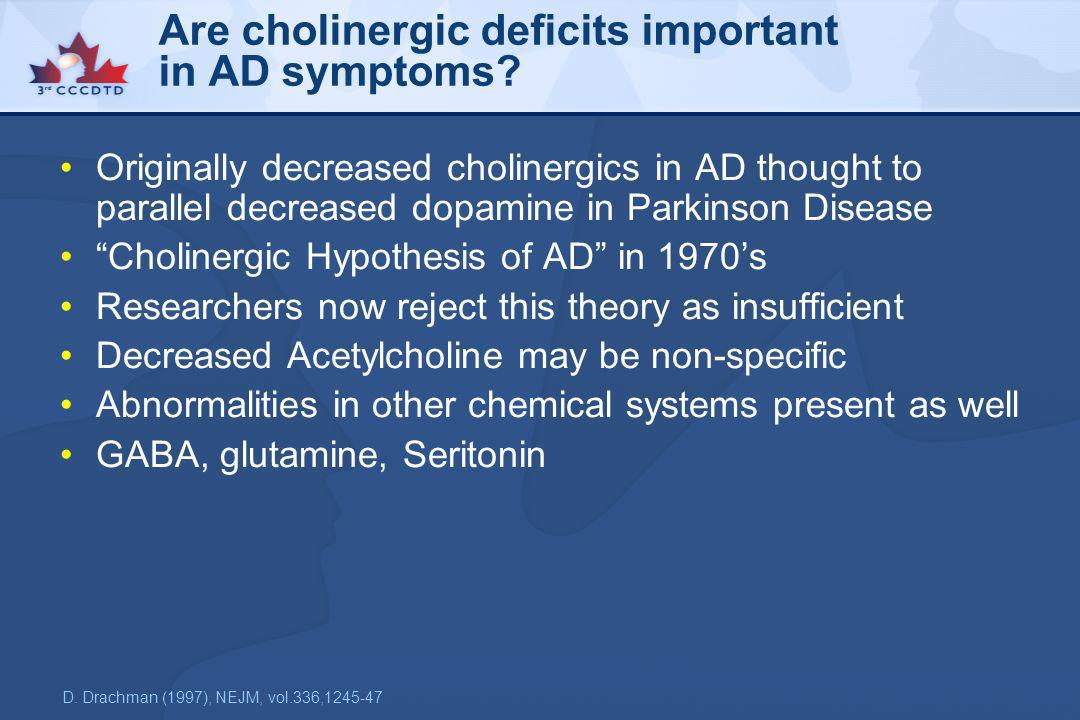 Are cholinergic deficits important in AD symptoms