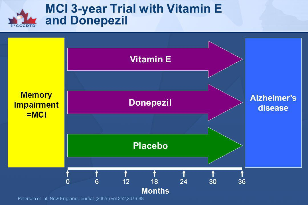 MCI 3-year Trial with Vitamin E and Donepezil
