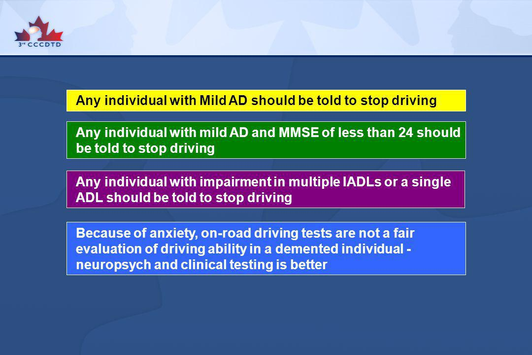 Any individual with Mild AD should be told to stop driving