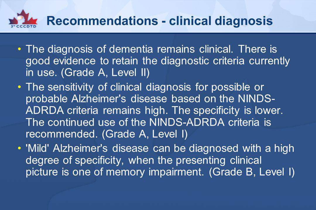 Recommendations - clinical diagnosis