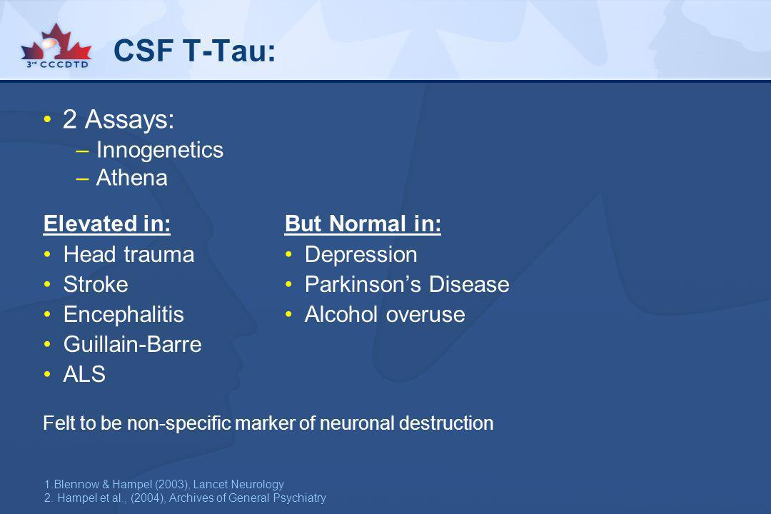 CSF T-Tau: 2 Assays: Innogenetics Athena Elevated in: Head trauma