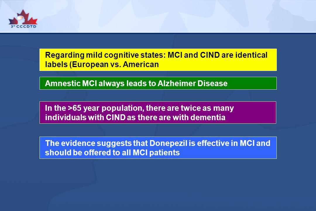 Regarding mild cognitive states: MCI and CIND are identical labels (European vs. American