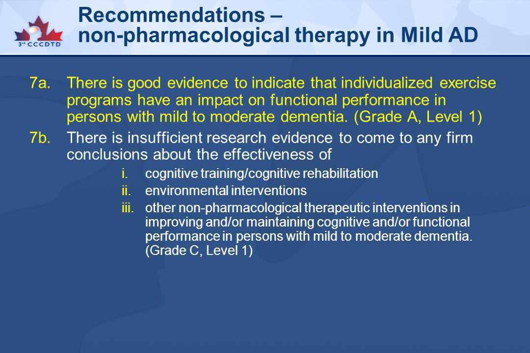 Recommendations – non-pharmacological therapy in Mild AD