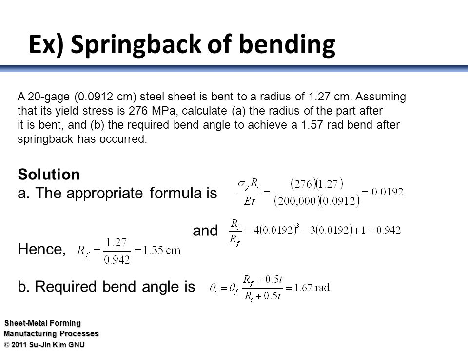 Forming (성형) The sheet is bent or stretched into various