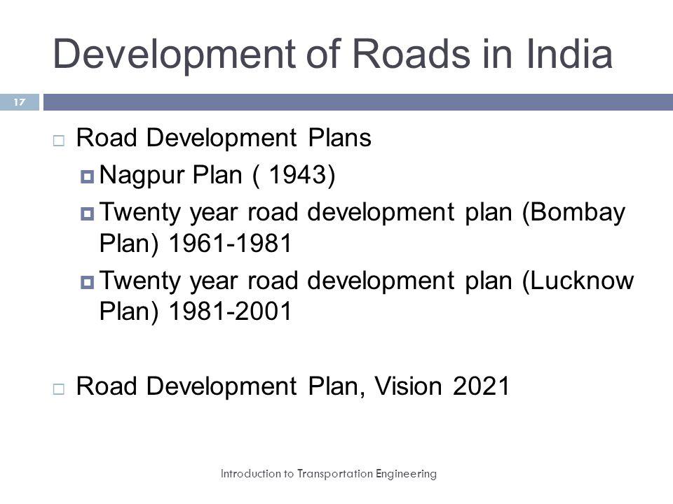 development of road transport in india