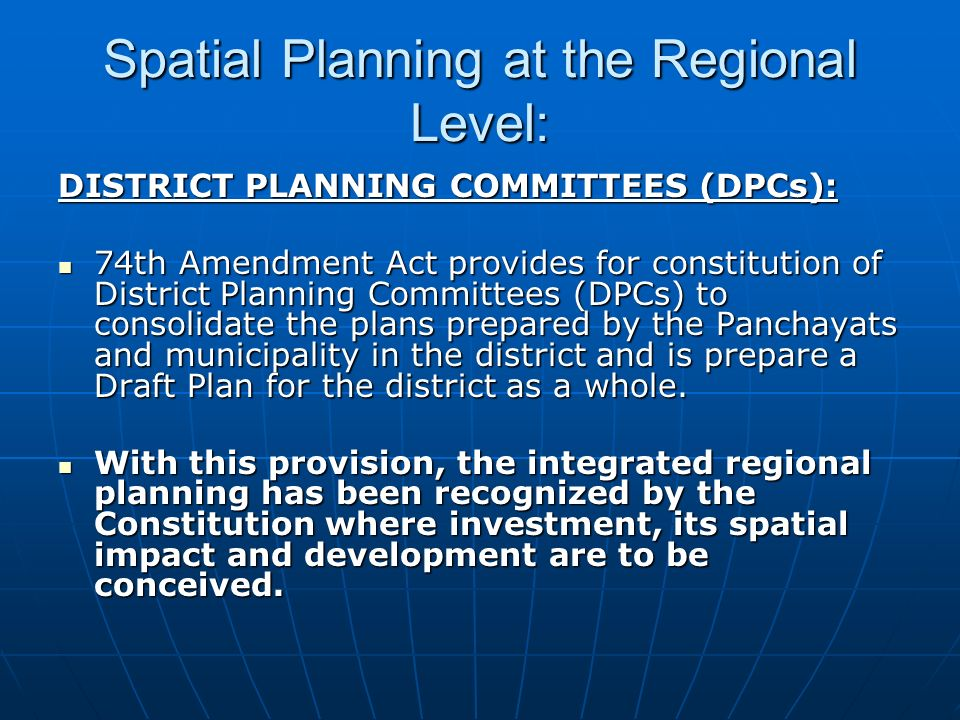 Spatial Planning at the Regional Level: