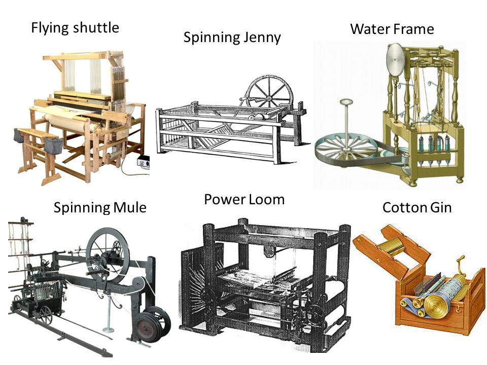 Water Frame Spinning Jenny Power Loom Spinning Mule Cotton Gin