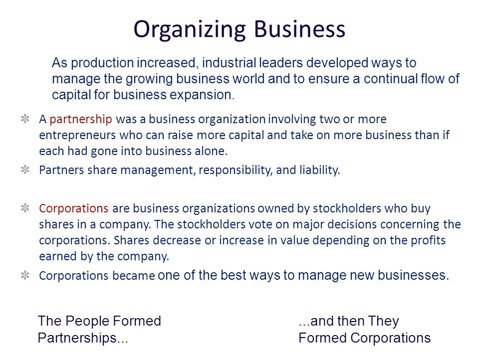 Organizing Business The People Formed Partnerships...