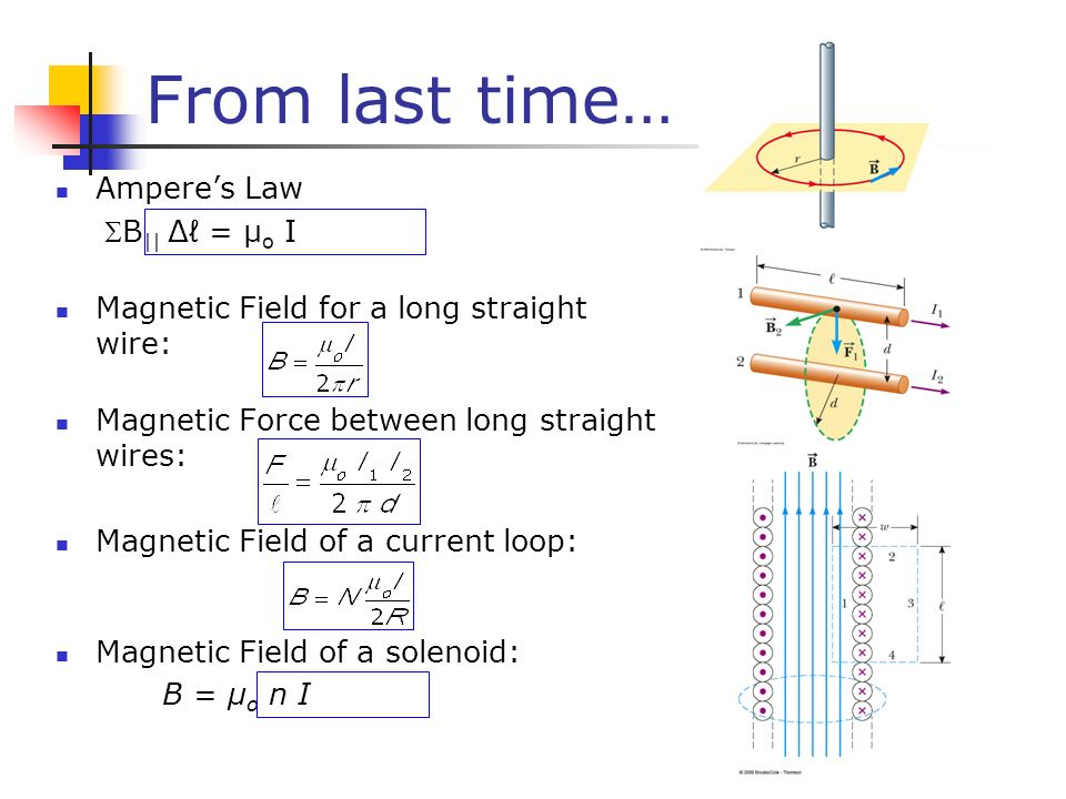 From last time… Ampere's Law B|| Δℓ = µo I