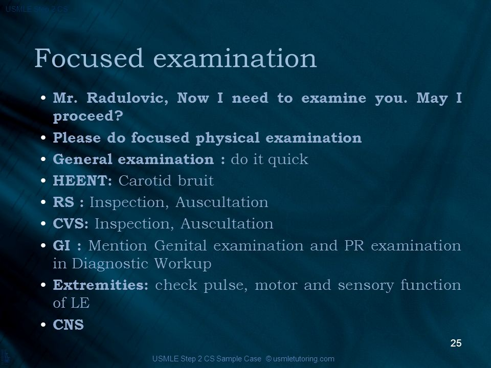 USMLE Step 2 CS This case is prepared by It will discuss