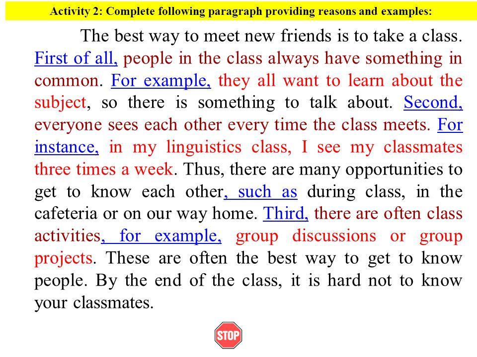Methods of paragraph development.