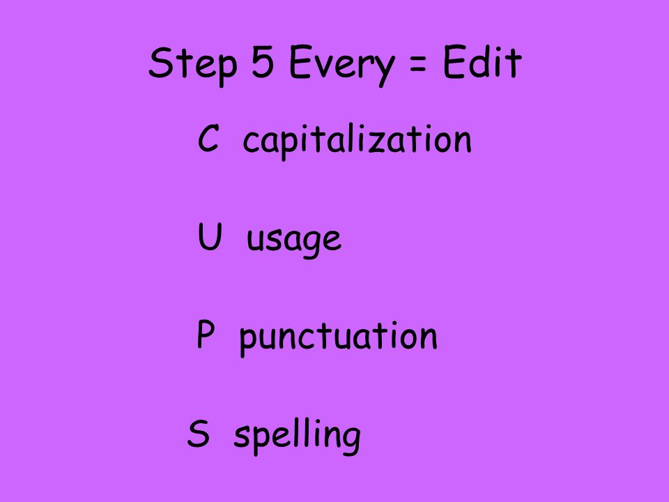 C capitalization U usage P punctuation S spelling