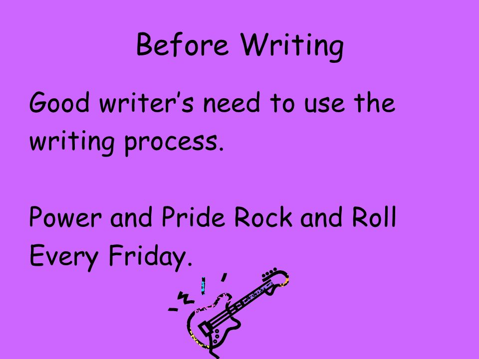 Before Writing Good writer's need to use the writing process.