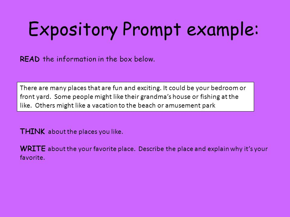 Expository Prompt example: