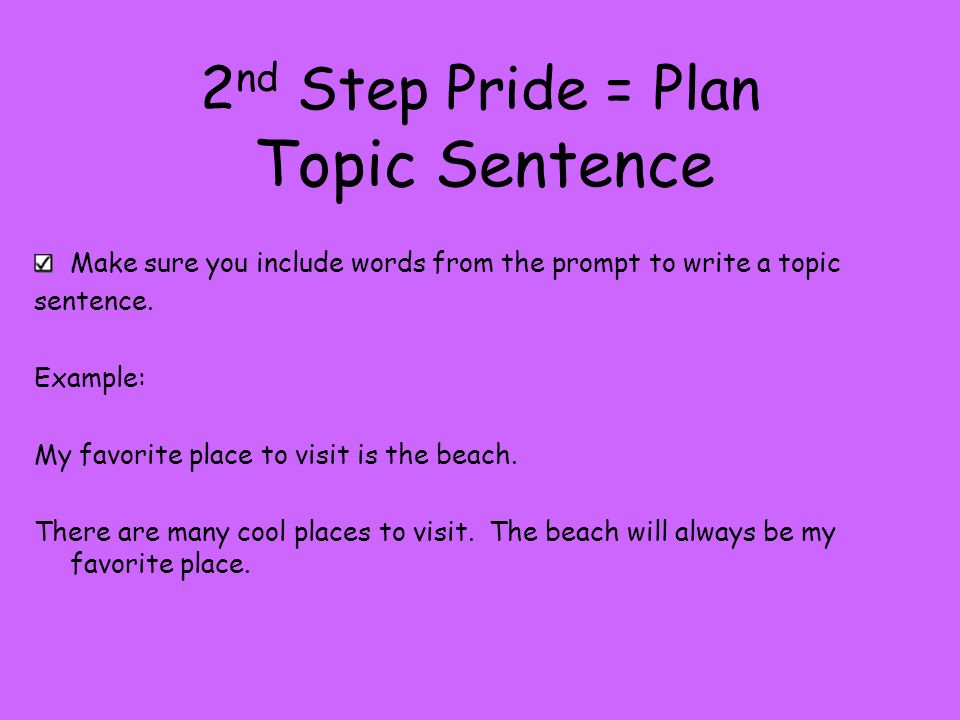 Topic Sentence 2nd Step Pride = Plan