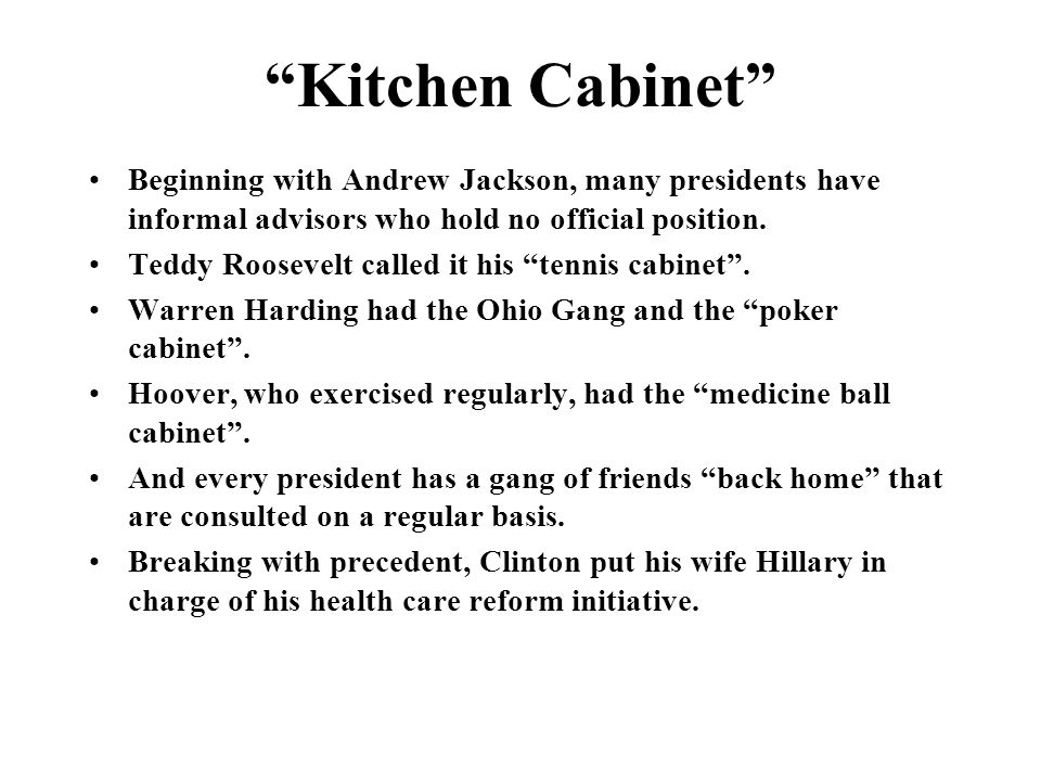 kitchen cabinet andrew jackson the executive branch ppt 18221