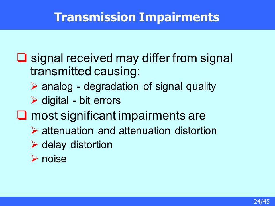Chapter 3 – Data Transmission: Concepts and Terminology