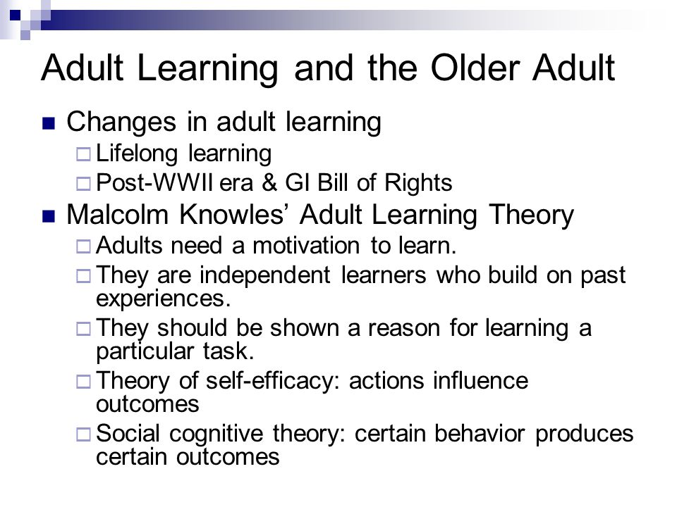 adults older theory Learning for