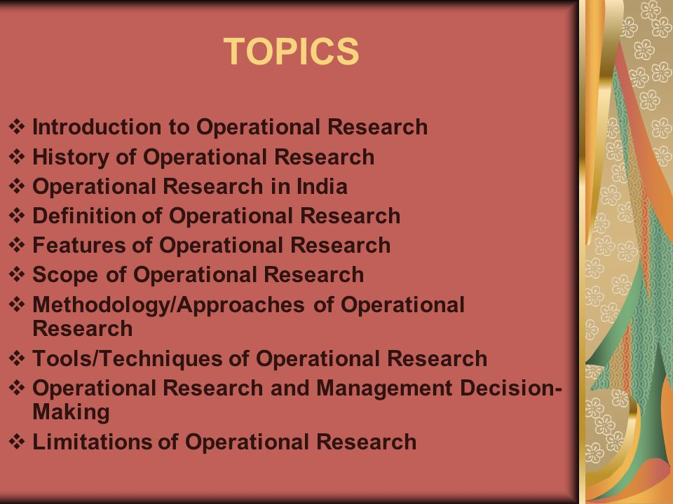 operation research project topics