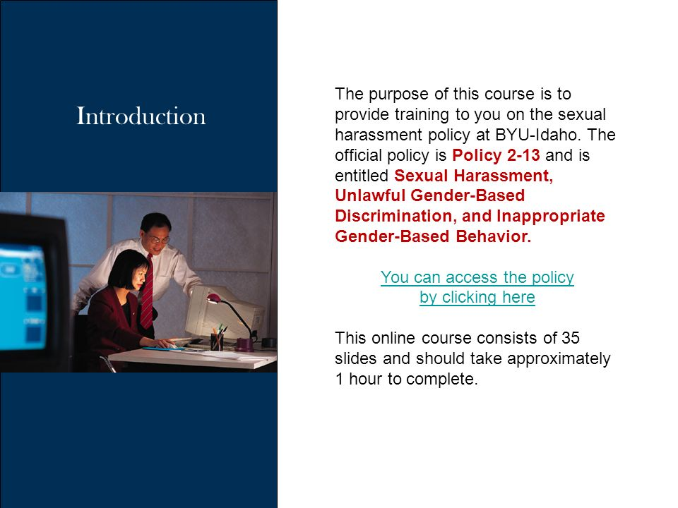 Sexual harassment training presentations
