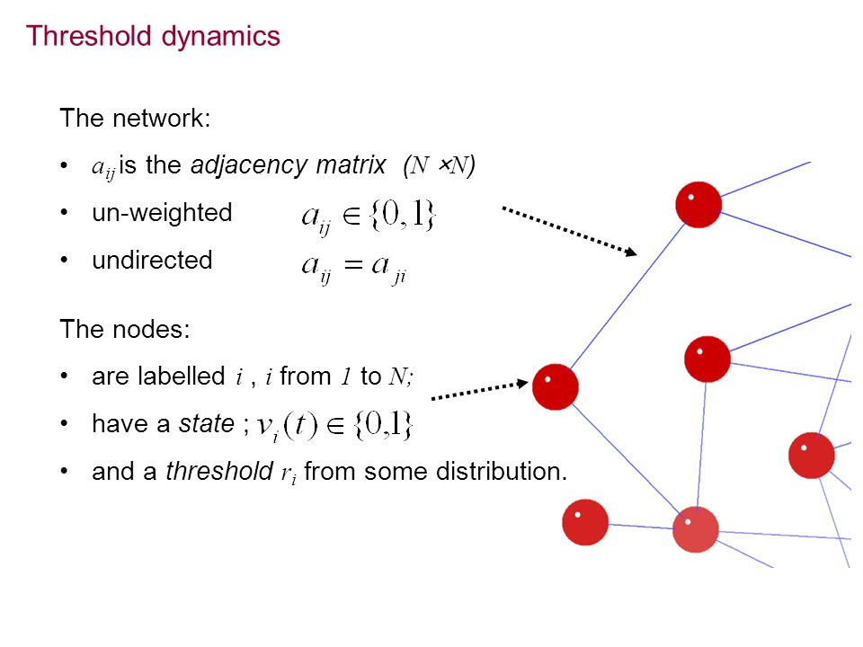 Threshold dynamics The network: aij is the adjacency matrix (N ×N)