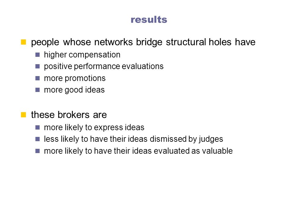 people whose networks bridge structural holes have