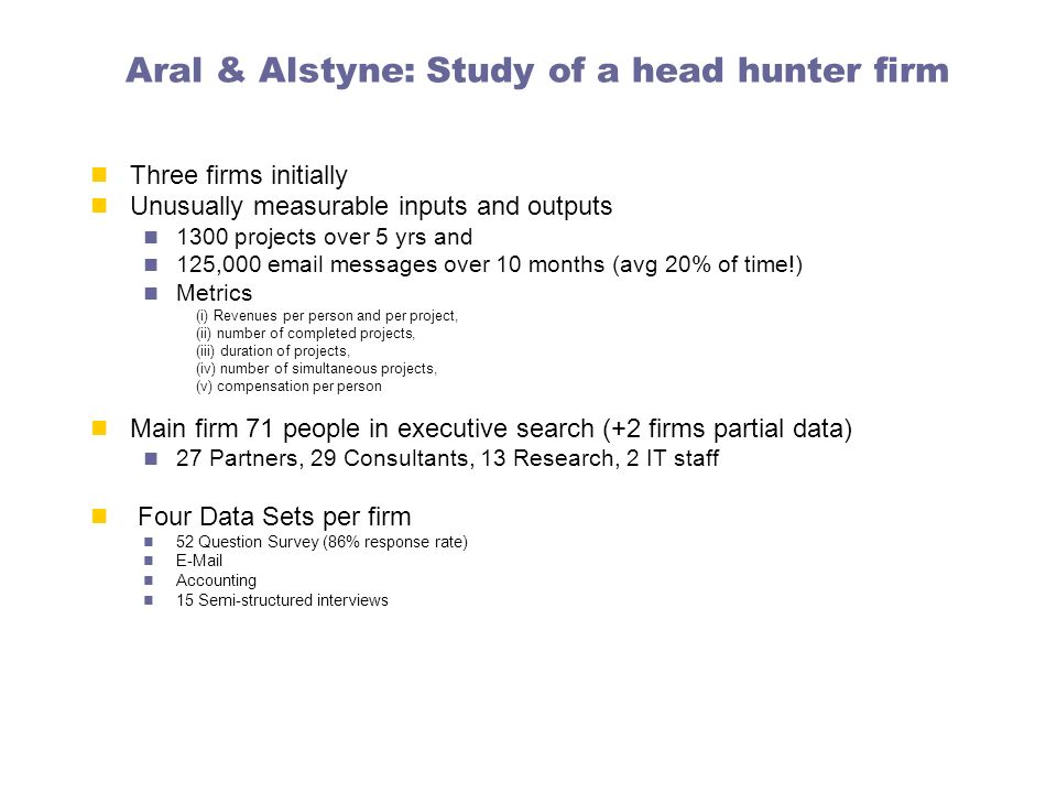 Aral & Alstyne: Study of a head hunter firm