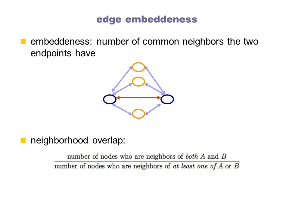 edge embeddeness embeddeness: number of common neighbors the two endpoints have.