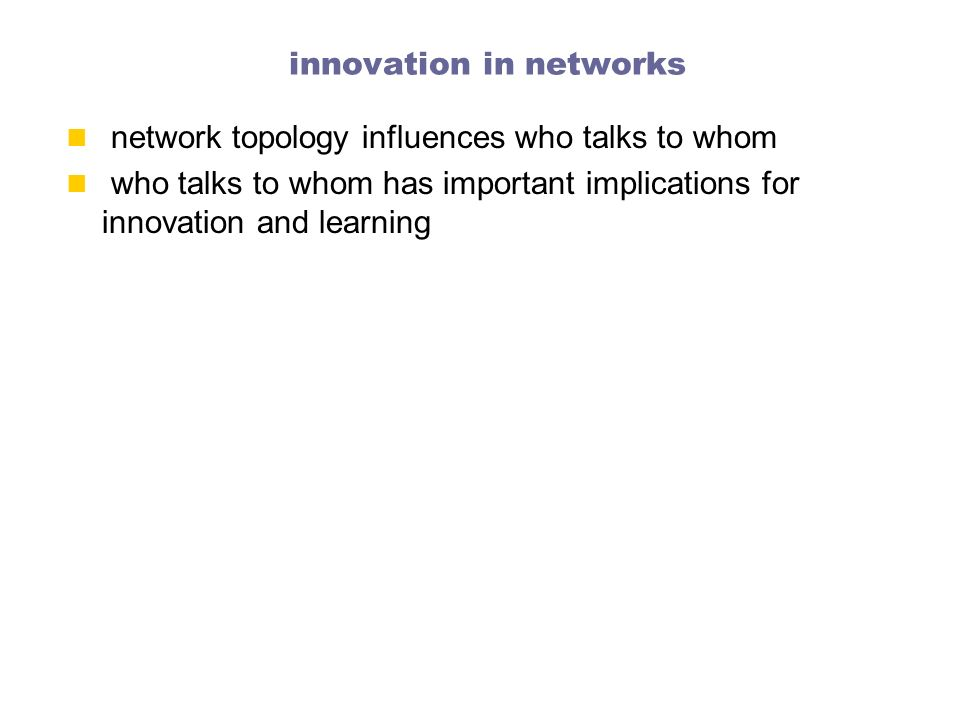 innovation in networks