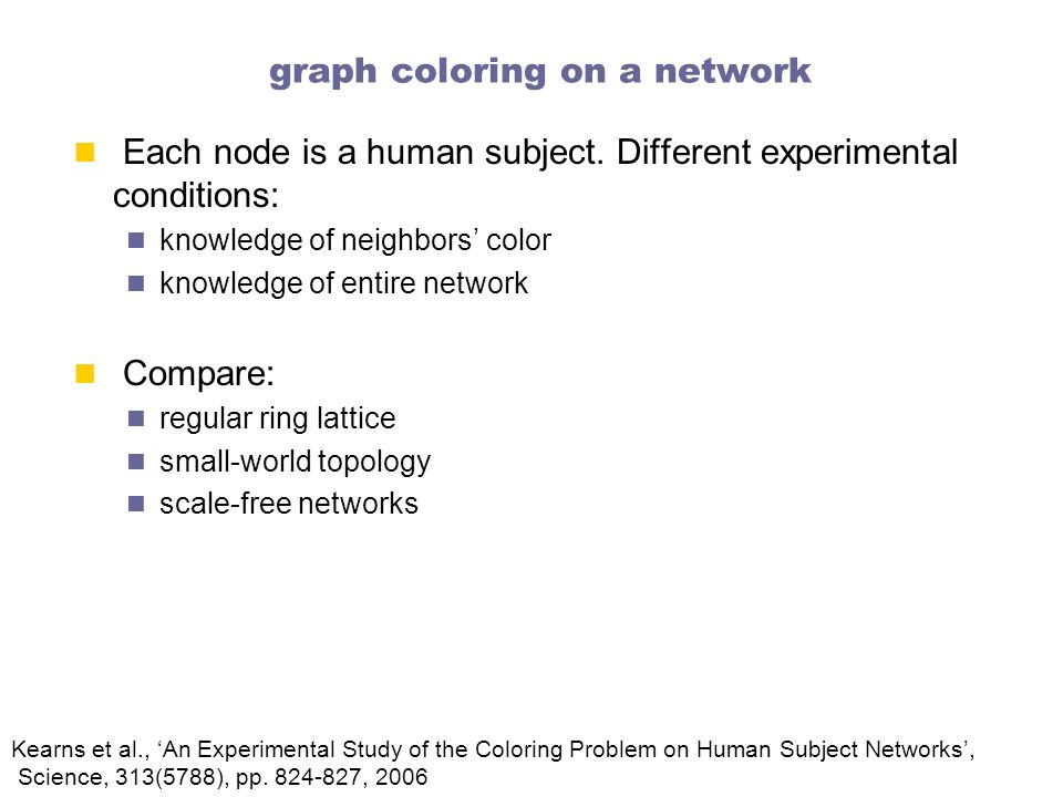 graph coloring on a network