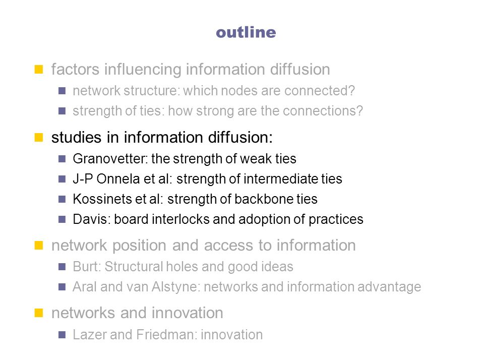 factors influencing information diffusion