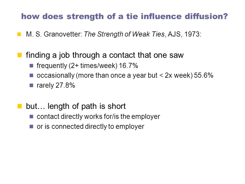 how does strength of a tie influence diffusion