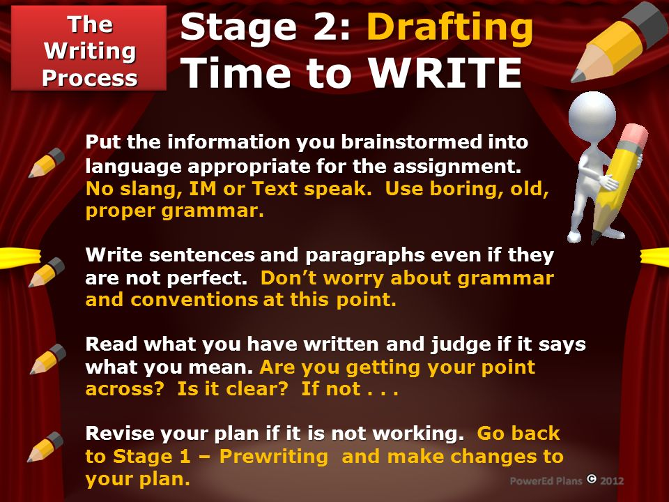 Stage 2: Drafting Time to WRITE