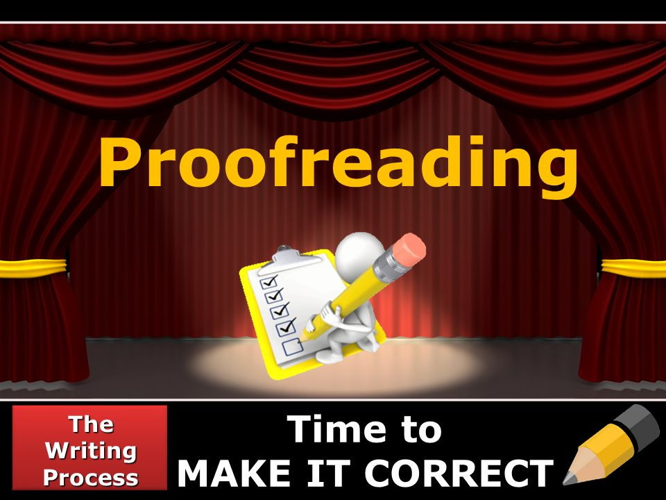 Proofreading The Writing Process Time to MAKE IT CORRECT