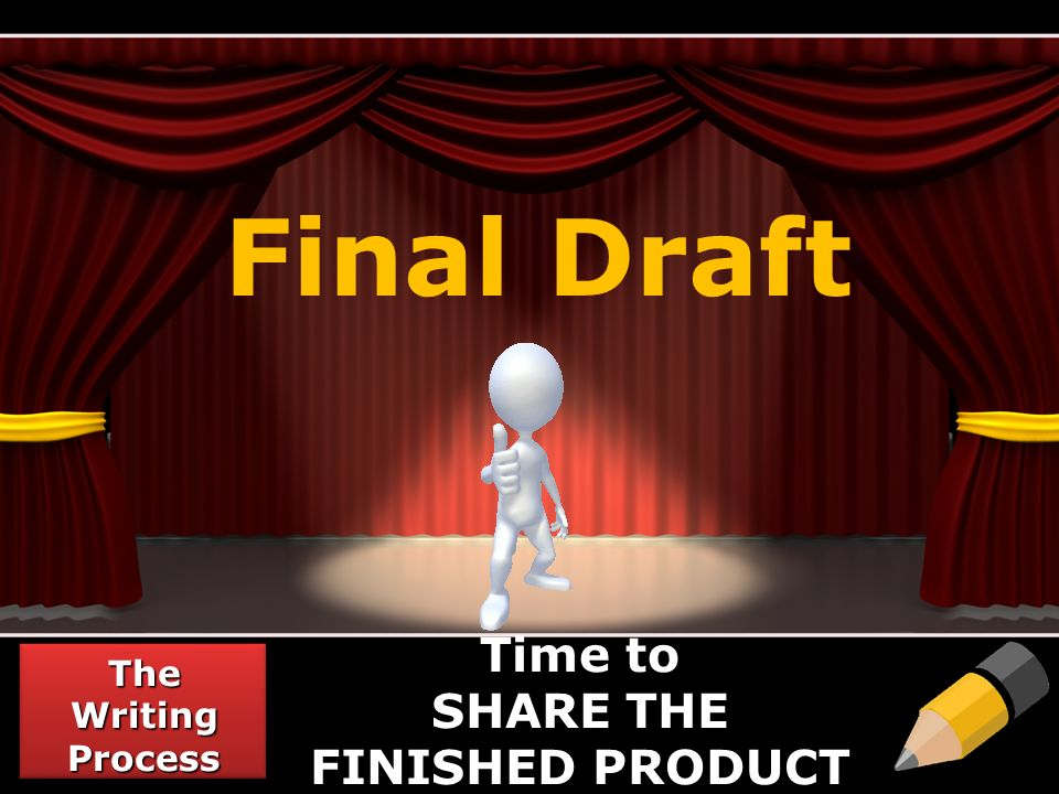 Final Draft The Writing Process Time to SHARE THE FINISHED PRODUCT