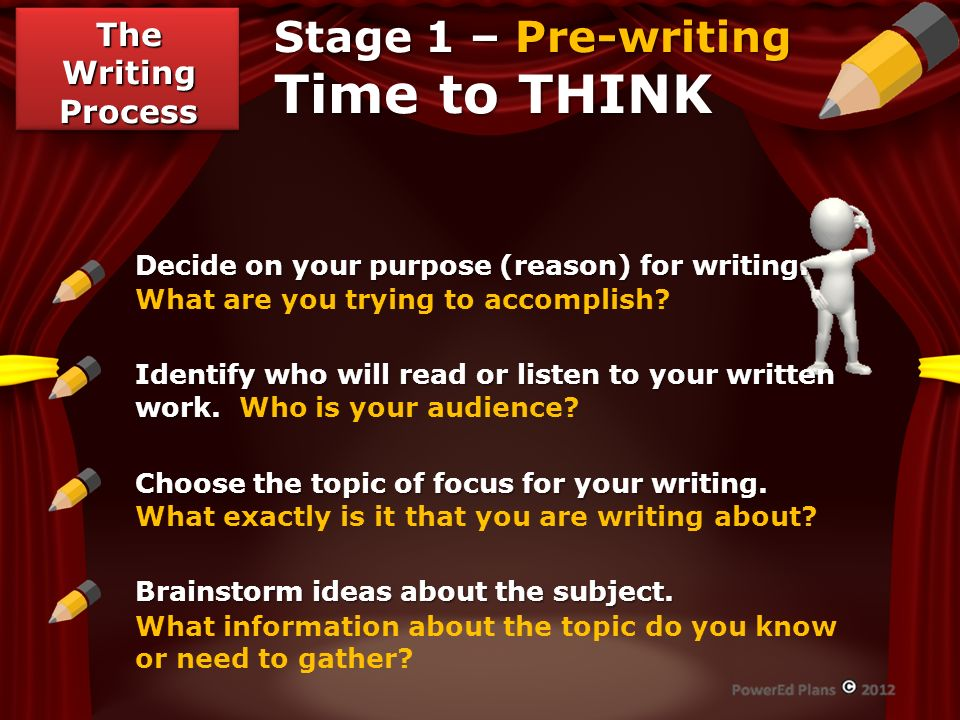 Stage 1 – Pre-writing Time to THINK