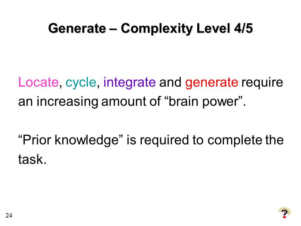Generate – Complexity Level 4/5