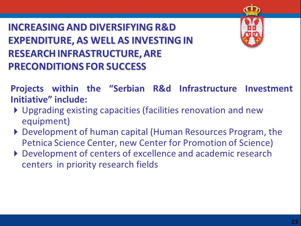 INCREASING AND DIVERSIFYING R&D EXPENDITURE, AS WELL AS INVESTING IN RESEARCH INFRASTRUCTURE, ARE PRECONDITIONS FOR SUCCESS