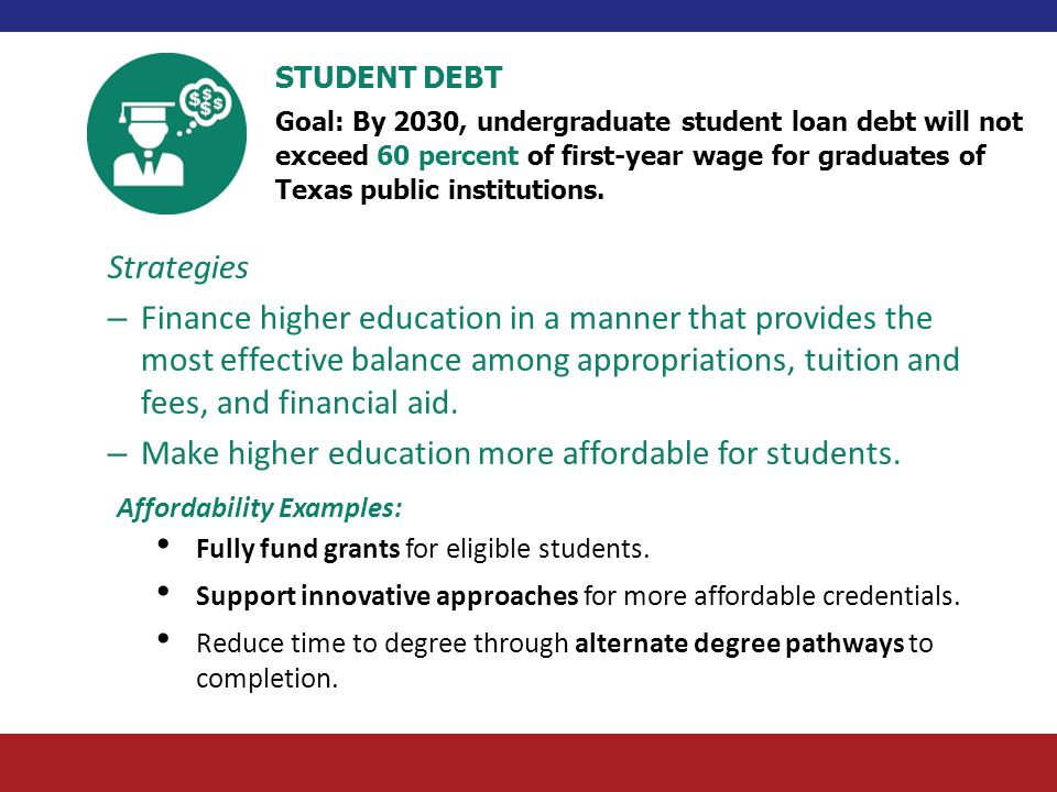 Make higher education more affordable for students.