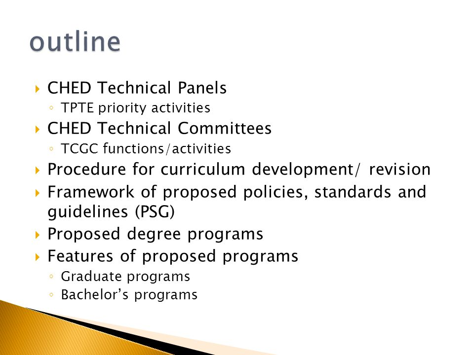 Outline Ched Technical Panels Ched Technical Committees