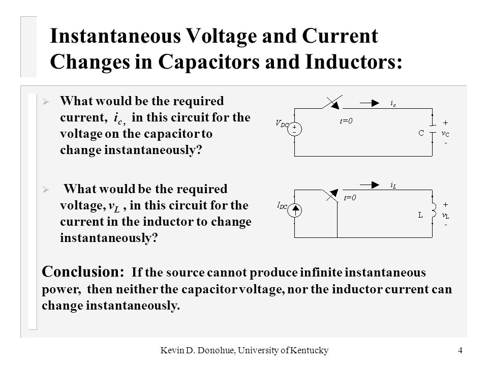 Instantaneous Voltage and Current Changes in Capacitors and Inductors: