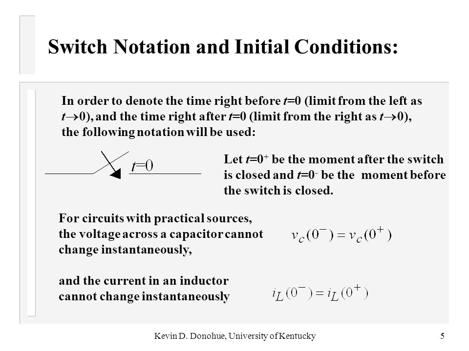Switch Notation and Initial Conditions: