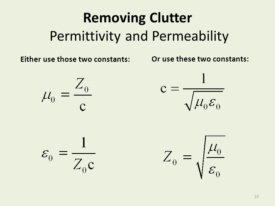 Removing Clutter Permittivity and Permeability