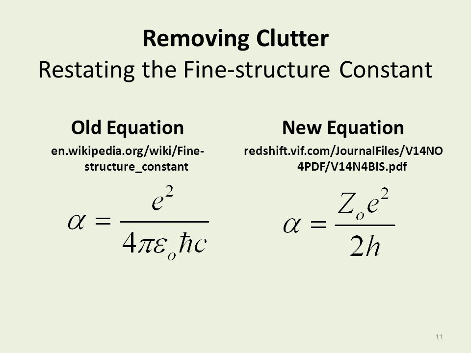 Removing Clutter Restating the Fine-structure Constant